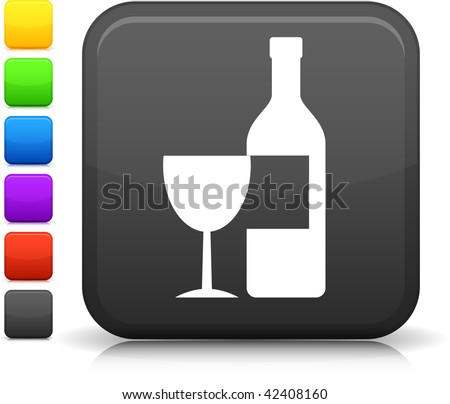 Wine icon on square internet button  Six color options included. - stock vector
