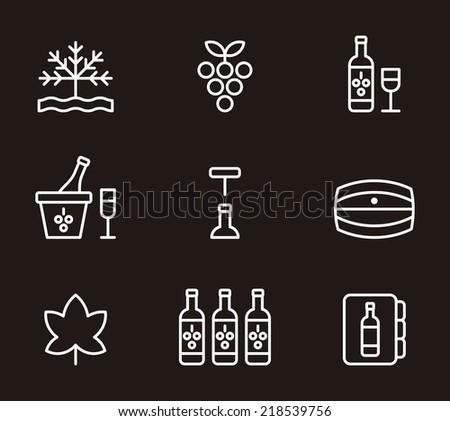 Wine icons - stock vector