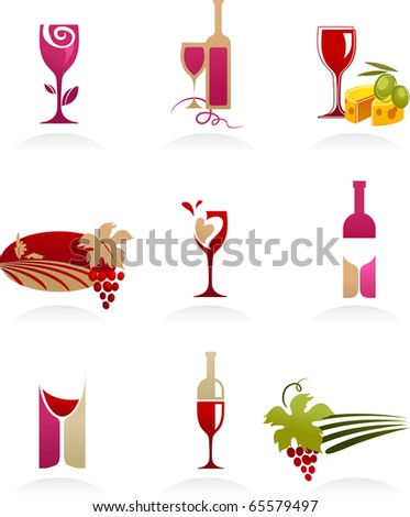 Wine icons collection - stock vector