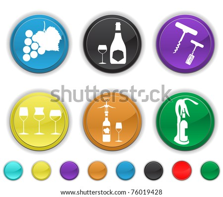 wine icons,each color is set on a different layer,easy to edit or re size - stock vector