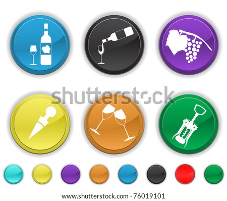 wine icons,each icon is set on a different  layer ,easy to edit or re size - stock vector