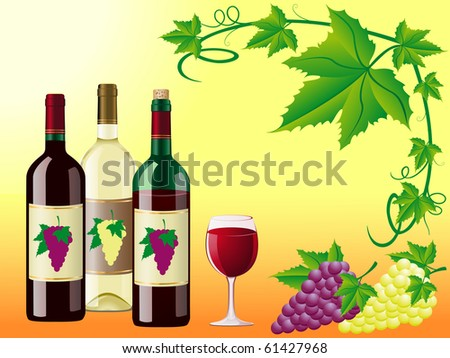 wine is red white with a grapes and decorative pattern of leaves vector illustration - stock vector