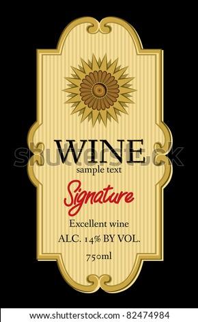 wine label design - stock vector