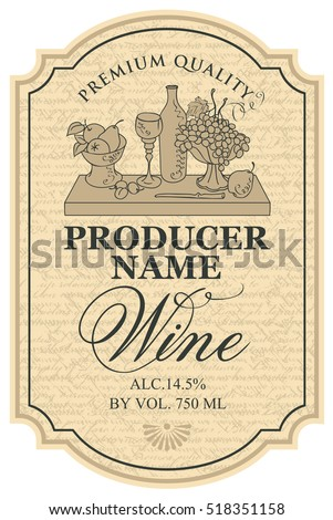 Wine Label Silhouette Still Life Bottles Stock Vector