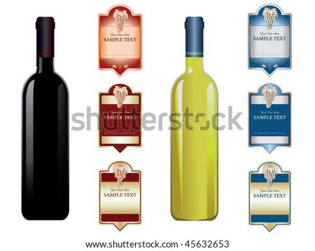 wine labels and bottles vector
