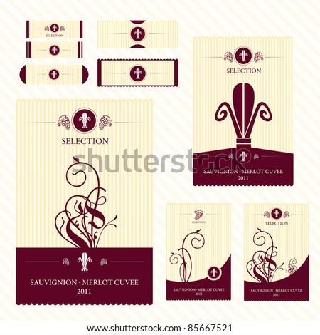 Wine labels with retro design - stock vector