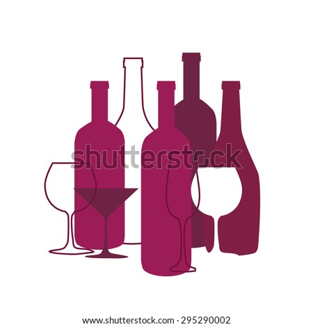 Wine list design for bar and restaurant. With bottles and glasses. Place for your text. Bottle and glass silhouette