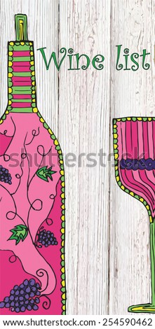 Wine list, hand drawn, zentangle stylized wine bottle and glass on wood texture background - stock vector