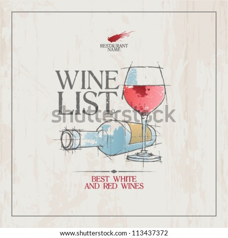 Wine List Menu Card Design template.