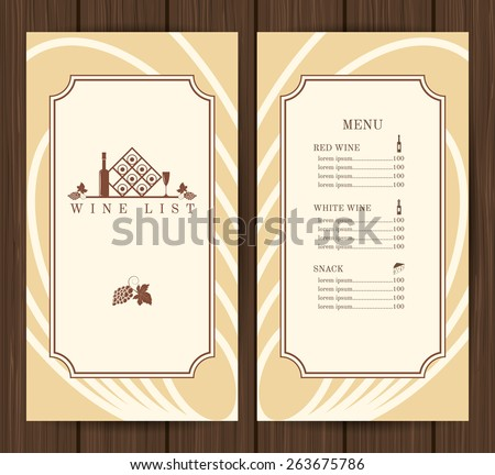 Wine list restaurant menu template on wooden background vector illustration - stock vector