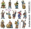 wine makers - set - cartoon - stock photo