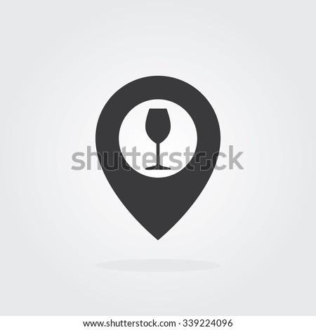 Wine Map Pointer Icon. Location pointer symbol. Flat Design vector. - stock vector