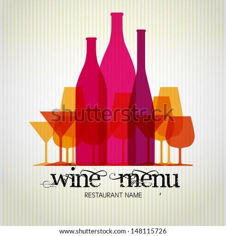 Wine menu design template - vector card - stock vector