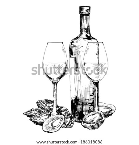 Wine, oysters and two glasses. Hand drawn illustration - stock vector
