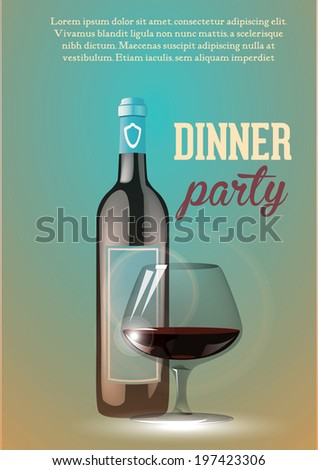 wine party invitation banner or flayer - stock vector