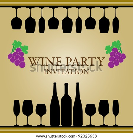 wine party invitation card - stock vector