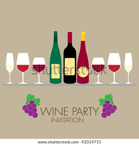 wine party invitation with simple graphic style - stock vector