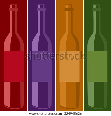 Wine poster. Silhouette of a wine bottle. - stock vector