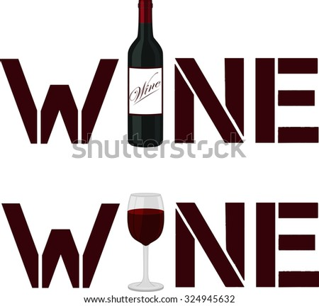 Wine poster. Wine logo with a bottle and wineglass. - stock vector