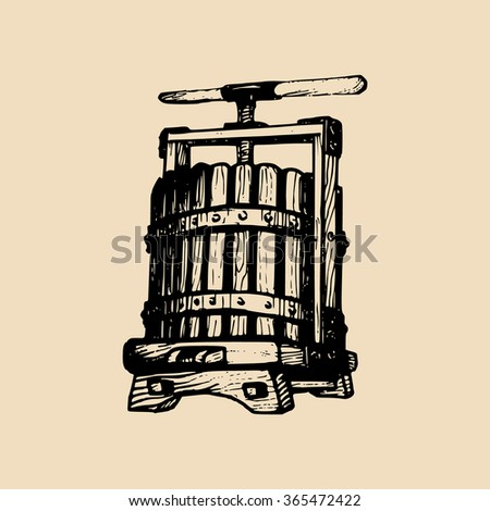 Wine press illustration. Vector wine press sketch. Hand drawn wine press. Old wine press. Old engraved illustration of wine press. - stock vector