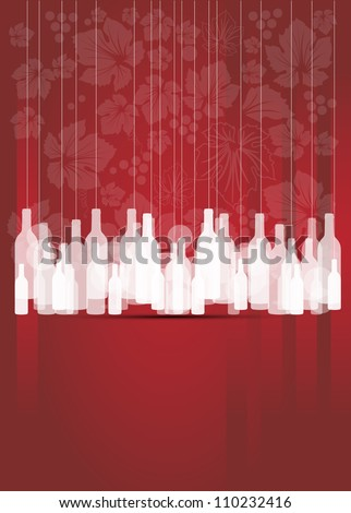 wine red abstract background with bottles - stock vector