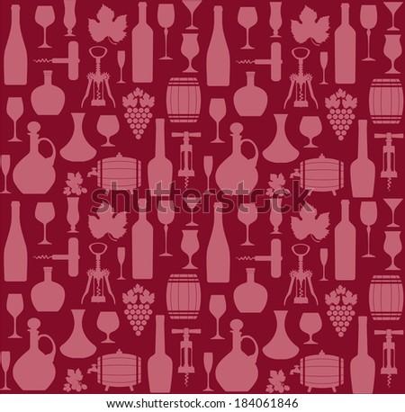 Wine seamless pattern. - stock vector