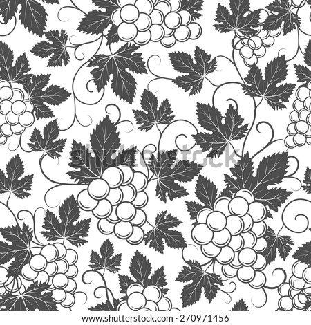 Wine seamless pattern with grapes and leaves. Elegant vintage design - stock vector