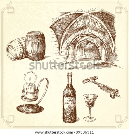 wine set - stock vector