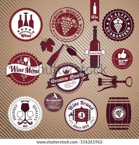 Wine set design element. - stock vector