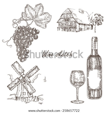 Wine set. Hand drawn bottle of wine, glass, bunch of grapes, windmill and old house. Vector illustration in sketch style - stock vector