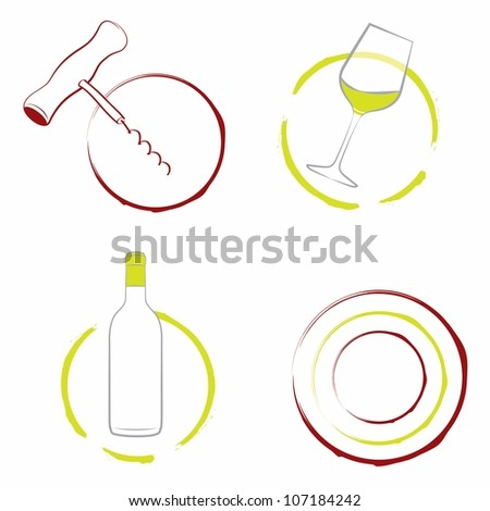Wine set of the wineglass, bottle of wine and wine corkscrew isolated on white. Vector illustration. - stock vector