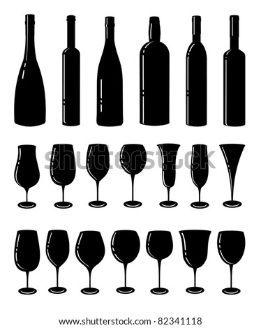 Wine set. Six wine bottles and glasses for wine. - stock vector