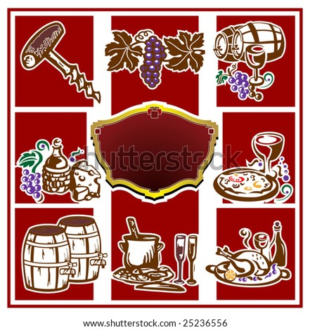 Wine set. Vector illustration. - stock vector