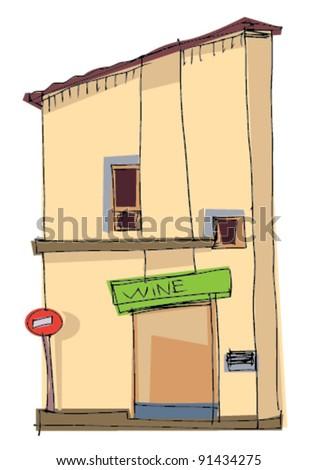 wine shop - stock vector