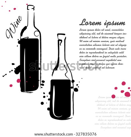 Wine sketch. Vector isolated illustration. Ink. Hand drawn. Illustration for cooking site, menus, books. - stock vector
