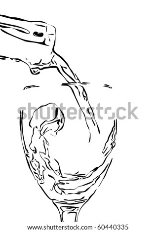 wine stream splashing from a bottle in a glass. - stock vector