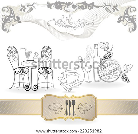 Wine symbols collection - stock vector