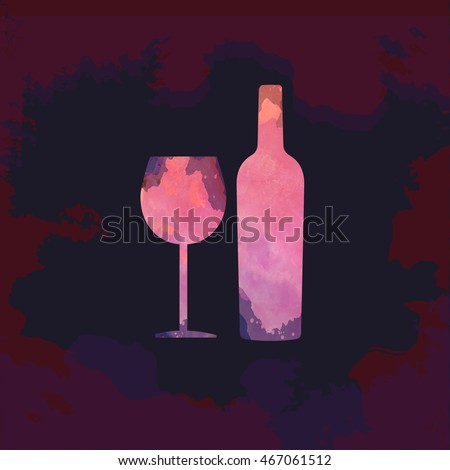 Wine tasting card, with colored bottle and a glass over a dark splash painted background. Digital vector image.