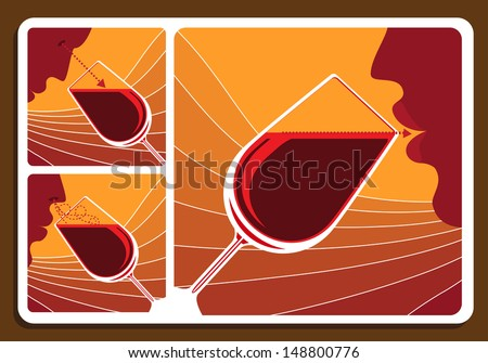 Wine tasting collage with three illustrations showing a man sniffing the bouquet, doing a visual check of clarity and tasting the wine in a wineglass - stock vector