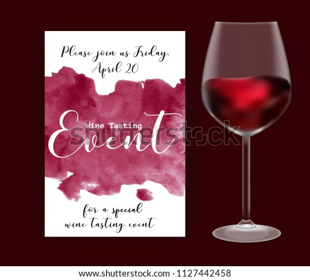 Wine tasting event flyer template vector stock vector 1127442458 wine tasting event flyer template vector illustration transparent glass with red wine handdrawn maxwellsz
