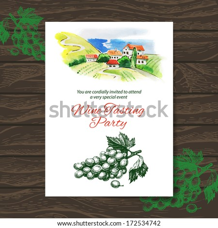 Wine tasting party card. Vector design with watercolor illustration - stock vector