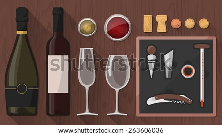 Wine tasting toolkit for wine makers, sommeliers and experts, including wine glass, bottles, corkscrews and assorted objects on wooden background - stock vector