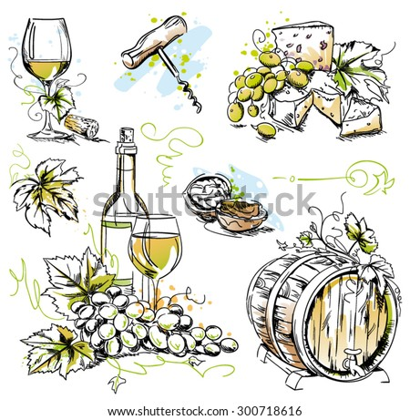 Wine tasting vector sketch set - pen and ink watercolor drawings of wine glass, bottle, walnuts, cheese and bunch of grapes isolated on white background - stock vector