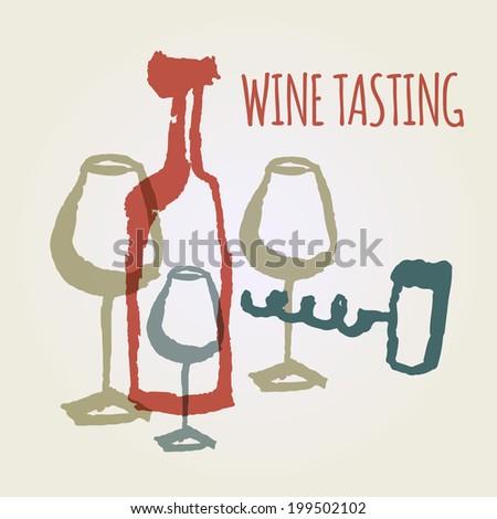 wine tasting.watercolor background - stock vector