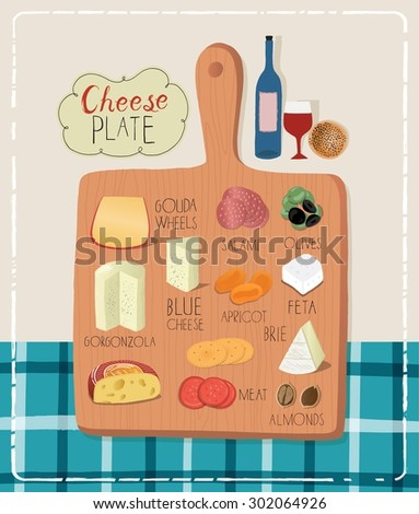 Wine tasting with delicious appetizers, cheese and meat on a rustic chopping board, red wine glass on a wooden table top view - stock vector