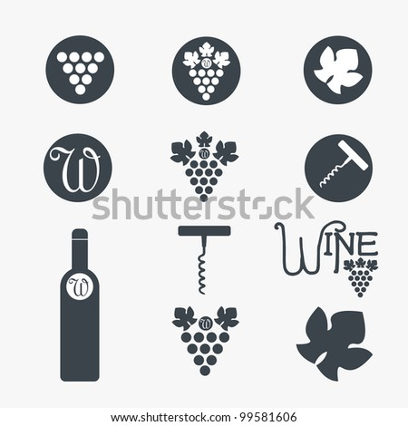 Wine theme icons. Vector - stock vector