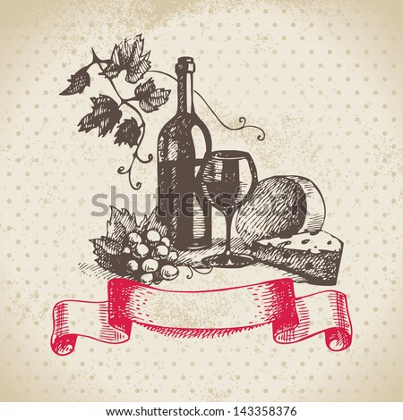 Wine vintage background. Hand drawn illustration - stock vector