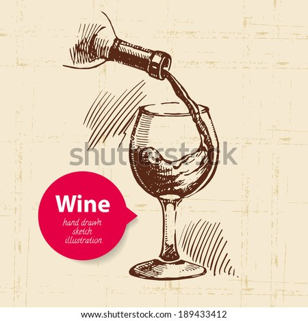 Wine vintage background with banner. Hand drawn sketch illustration - stock vector