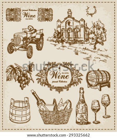 wine. vintage set  - stock vector
