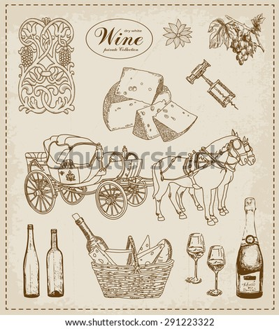 Wine. Vintage set of design elements - stock vector